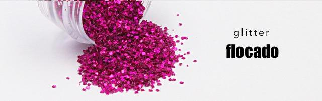 Glitter flocado unhas